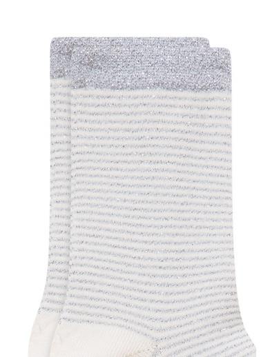Mavi Çizgili  Soket Çorap Beyaz
